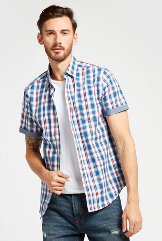 Checked Shirt with Spread Collar and Short Sleeves