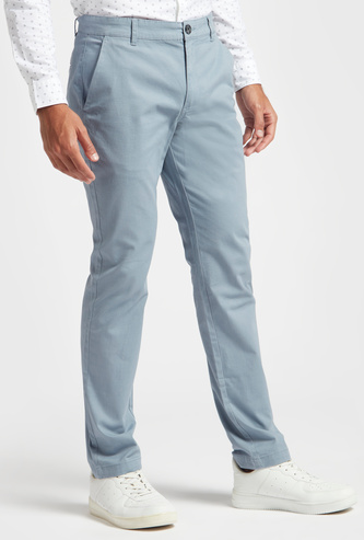 Slim Fit Solid Chinos with Pockets and Button Closure