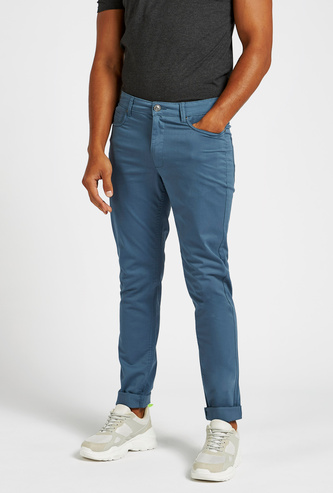 Slim Fit Solid Mid-Rise Pants with Pockets and Belt Loops