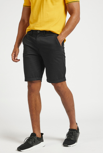 Solid Chino Shorts with Pocket Detail and Button Closure