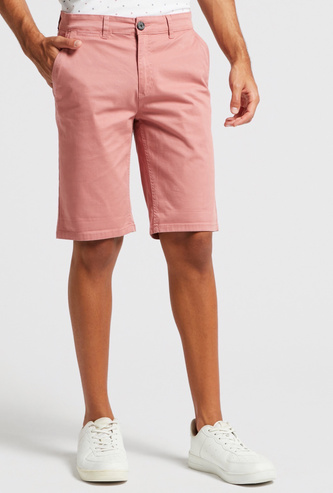 Solid Mid-Rise Chino Shorts with Pocket Detail and Belt Loops
