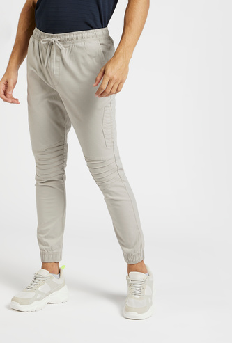 Full Length Solid Jog Pants with Pockets and Drawstring