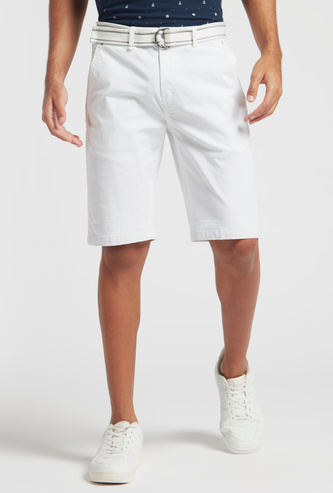 Solid Mid-Rise Shorts with Pocket Detail and Belt