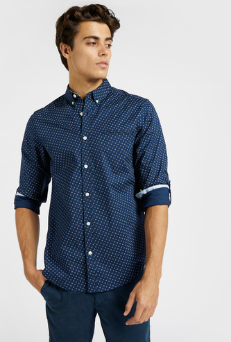 Slim Fit Printed Oxford Shirt with Long Sleeves and Button Closure