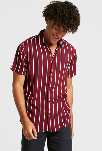 Striped Shirt with Spread Collar and Short Sleeves