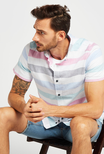 Striped Shirt with Button-Down Collar and Short Sleeves