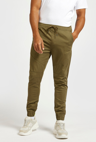 Full Length Solid Woven Jog Pants with Drawstring