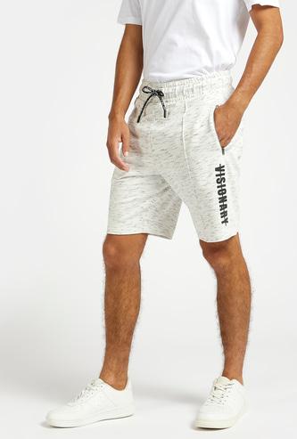 Injected Print Shorts with Pocket Detail and Drawstring Closure