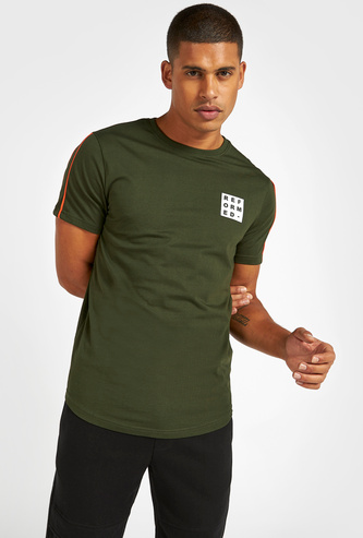 Slim Fit Text Print T-shirt with Piping Detail and Scoop Hem