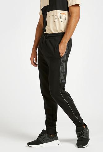 Slim Fit Solid Jog Pants with Side Panel Detail and Pocket Detail