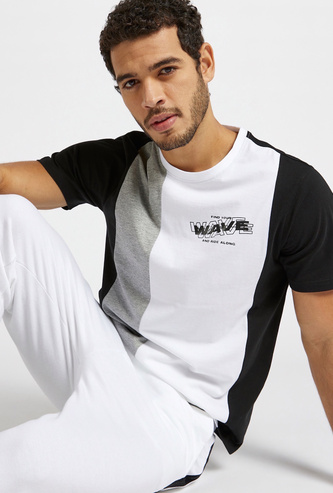 Slim Fit Panel Block T-shirt with Crew Neck and Short Sleeves