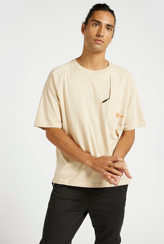 Text Print T-shirt with Crew Neck and Raglan Sleeves