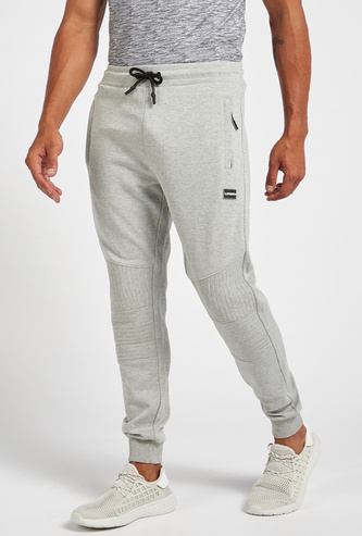 Slim Fit Textured Jog Pants with Pocket Detail and Drawstring Closure