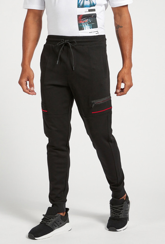 Full-Length Solid Joggers with Zip Detail and Drawstring Closure