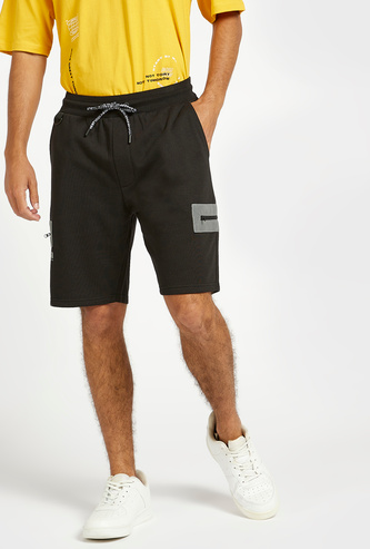 Reflective Patch Panel Shorts with Pockets and Drawstring