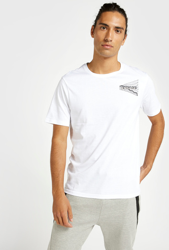 Slim Fit Graphic Print Longline T-shirt with Round Neck