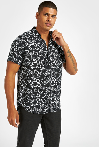 Slim Fit All-Over Mickey Mouse Print Shirt with Short Sleeves