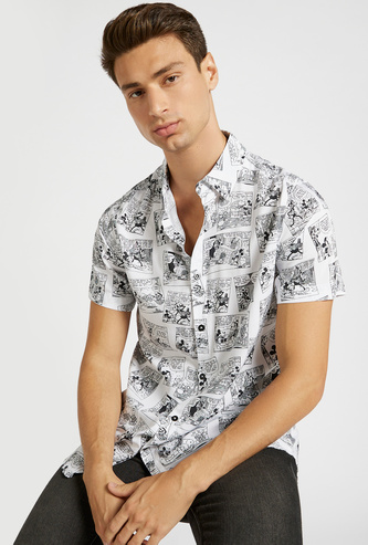 Mickey Mouse Comics Print Slim Fit Shirt with Short Sleeves