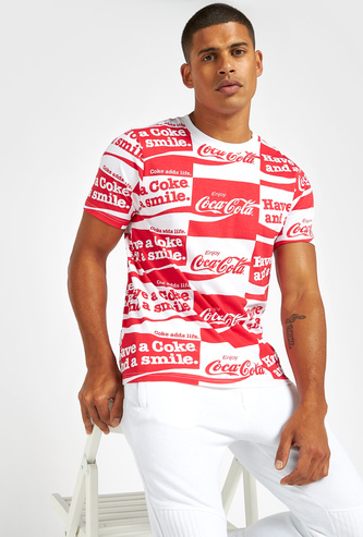 Slim Fit All-Over Coca-Cola Print T-shirt with Short Sleeves