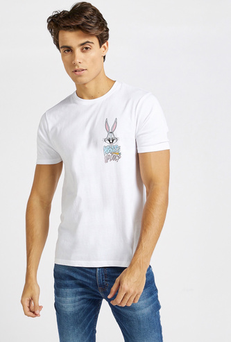 Bugs Bunny Print Crew Neck T-shirt with Short Sleeves
