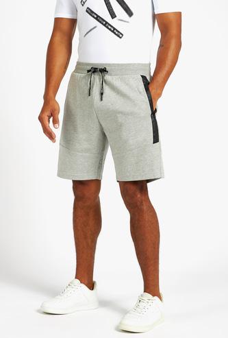 Solid Waterproof Knee-Length Shorts with Drawstring Closure