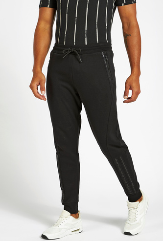 Full Length Constructed Tape Detail Jog Pants with Pockets