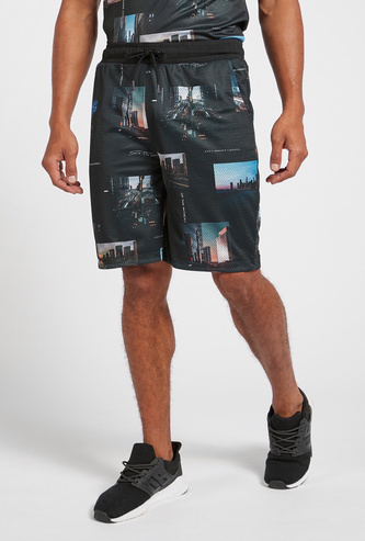 Slim Fit All-Over Print Knit Shorts with Drawstring Closure