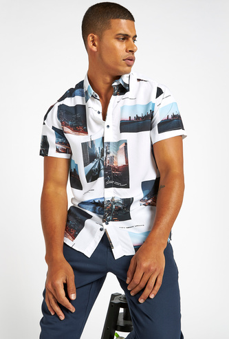 All Over Print Shirt with Short Sleeves and Collar