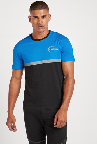 Slim Fit Panel Block T-shirt with Reflective Tape Detail