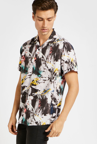 All-Over Graffiti Print Shirt with Short Sleeves