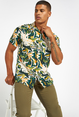 Tropical Print Shirt with Short Sleeves and Button Closure