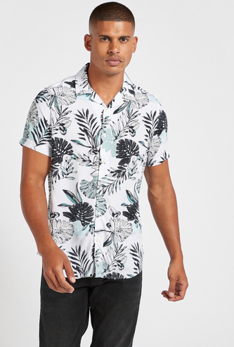 All-Over Leaves Print Shirt with Spread Collar and Short Sleeves