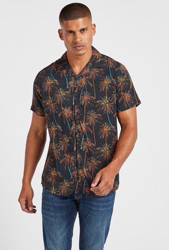 Palm Printed Shirt with Short Sleeves and Button Closure