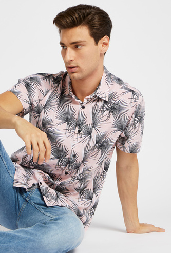 Slim Fit Leaves Print Shirt with Short Sleeves and Button Closure