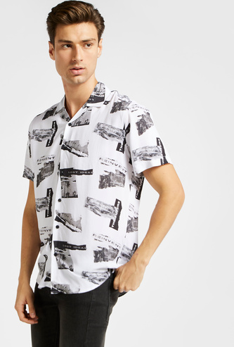 All-Over Print Shirt with Short Sleeves