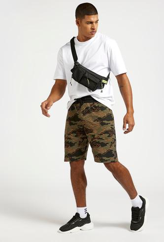 Camo Print Shorts with Elasticated Drawstring Waist and Pockets