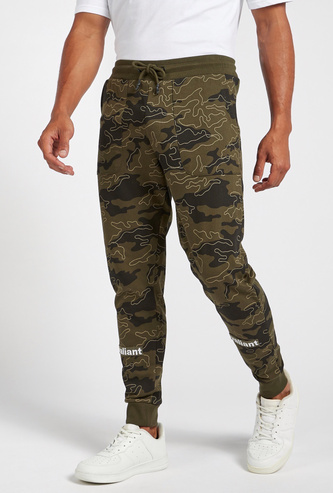 Slim Fit All-Over Camouflage Print Jog Pants with Drawstring Closure