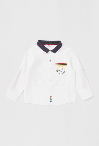 Printed Collared Shirt with Long Sleeves and Pocket