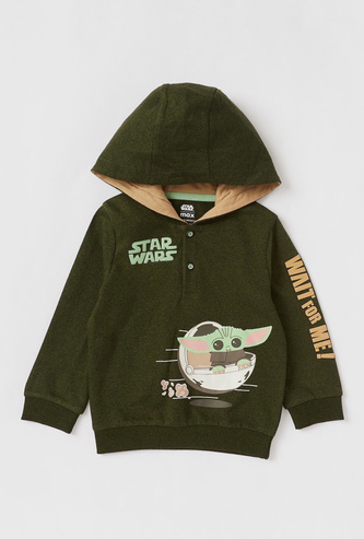 Star Wars Print Hoodie with Button Closure and Long Sleeves