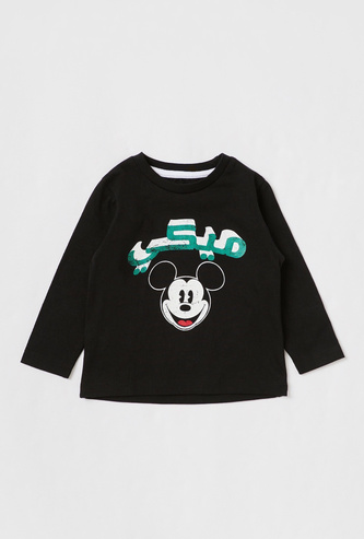 Mickey Mouse Print T-shirt with Round Neck and Long Sleeves