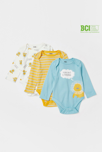 Set of 3 - Assorted Bodysuit with Round Neck and Long Sleeves