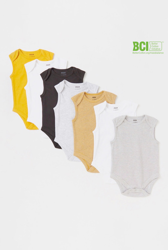 Set of 7 - Assorted Sleeveless Bodysuit with Snap Button Closure