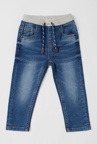 Solid Mid-Rise Full Length Jeans with Drawstring Closure