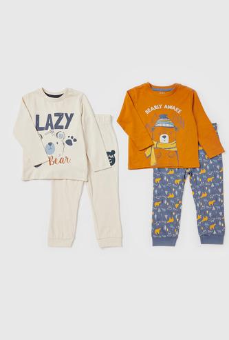 Set of 2 - Printed Round Neck T-shirt and Full-Length Pyjamas