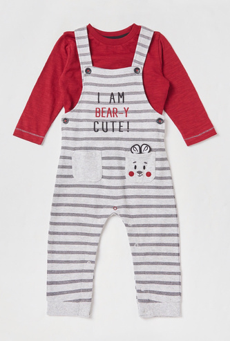 Solid T-shirt and Striped Dungarees Set