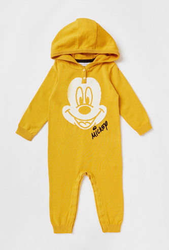 Mickey Mouse Textured Full-Length Romper with Hooded Neck