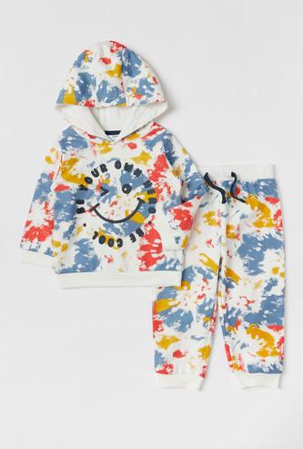 Tie-Dye Print Hooded Sweatshirt and Jog Pants Set