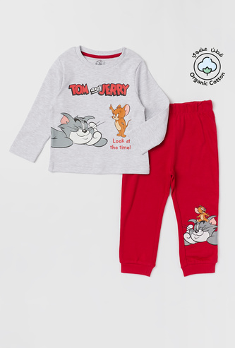 Tom and Jerry Printed Round Neck T-shirt and Pyjama Set