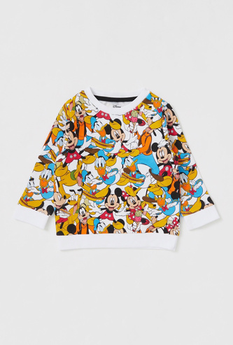 All-Over Mickey Mouse & Friends Print Sweatshirt with Round Neck and Long Sleeves