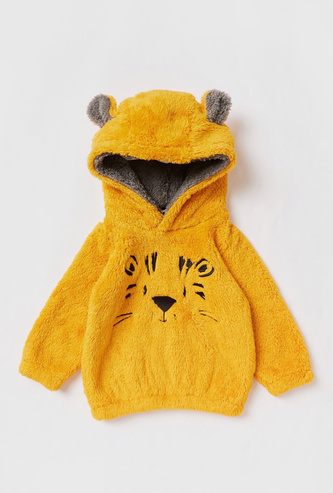Textured Hoodie with Long Sleeves and Ear Applique Accent